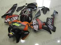 Honda CBR600RR 2005 2006 Rossi replica fairing kits, this Honda CBR600RR 2005 2006 plastics was applied in Rossi replicagraphics, this 2005 2006 CBR600RR fairing set comes with the both color and decals shown as the photo.If you want to do custom fairings for CBR600RR 2005 2006,our talented airbrusher will custom it for you.
