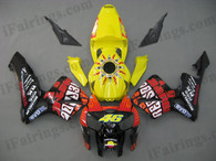 Honda CBR600RR 2005 2006 Rossi fairing kits, this Honda CBR600RR 2005 2006 plastics was applied in Rossi graphics, this 2005 2006 CBR600RR fairing set comes with the both color and decals shown as the photo.If you want to do custom fairings for CBR600RR 2005 2006,our talented airbrusher will custom it for you.