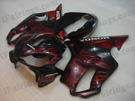 Honda CBR600 F4i 2004 2005 2006 2007 black/red flame fairing kits, this Honda CBR600 F4i 2004 2005 2006 2007 plastics was applied in black/red flame graphics, this 2004 2005 2006 2007 CBR600 fairing set comes with the both color and decals shown as the photo.If you want to do custom fairings for CBR600 F4i 2004 2005 2006 2007,our talented airbrusher will custom it for you.