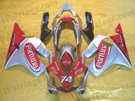 Honda CBR600 F4i 2004 2005 2006 2007 red/silver Fortuna fairing kits, this Honda CBR600 F4i 2004 2005 2006 2007 plastics was applied in red/silver Fortuna graphics, this 2004 2005 2006 2007 CBR600 fairing set comes with the both color and decals shown as the photo.If you want to do custom fairings for CBR600 F4i 2004 2005 2006 2007,our talented airbrusher will custom it for you.