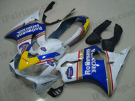 Honda CBR600 F4i 2004 2005 2006 2007 Rothmans replica fairing kits, this Honda CBR600 F4i 2004 2005 2006 2007 plastics was applied in Rothmans replica graphics, this 2004 2005 2006 2007 CBR600 fairing set comes with the both color and decals shown as the photo.If you want to do custom fairings for CBR600 F4i 2004 2005 2006 2007,our talented airbrusher will custom it for you.
