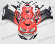 Honda CBR1000RR 2004 2005 red/black fairing kits, this Honda CBR1000RR 2004 2005 plastics was applied in red/blackgraphics, this 2004 2005 CBR1000RR fairing set comes with the both color and decals shown as the photo.If you want to do custom fairings for CBR1000RR 2004 2005,our talented airbrusher will custom it for you
