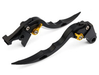 Black CNC blade brake & clutch levers for Honda CBR600RR 2003 2004(F-29/Y-688H). The Levers are manufactured from quality CNC T-6 billet aluminum and offer effortless adjustments with 6-position adjusters that slide over ball bearings and snap securely into place. They are anodized with beautiful glossy and vibrant finish, which increases resistance to corrosion and wear. Our levers are designed as a direct replacement of the stock levers but more benefit over the stock ones. They provide better range of adjustability than other stock levers, come in a varity of anodized colors, desinged for use with OEM style master cylinders. Plus, our levers are easy installation, no extra parts need, just direct bolts on.