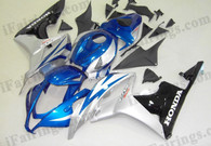 Honda CBR600RR 2007 2008 blue, silver and black fairing kits, this Honda CBR600RR 2007 2008 plastics was applied in blue, silver and blackgraphics, this 2007 2008 CBR600RR fairing set comes with the both color and decals shown as the photo.If you want to do custom fairings for CBR600RR 2007 2008,our talented airbrusher will custom it for you