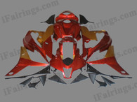 Honda CBR600RR 2007 2008 burgundy and gold fairing kits, this Honda CBR600RR 2007 2008 plastics was applied in burgundy and goldgraphics, this 2007 2008 CBR600RR fairing set comes with the both color and decals shown as the photo.If you want to do custom fairings for CBR600RR 2007 2008,our talented airbrusher will custom it for you