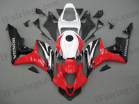 Honda CBR600RR 2007 2008 red, white and black fairing kits, this Honda CBR600RR 2007 2008 plastics was applied in red, white and blackgraphics, this 2007 2008 CBR600RR fairing set comes with the both color and decals shown as the photo.If you want to do custom fairings for CBR600RR 2007 2008,our talented airbrusher will custom it for you