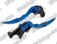 Blue CNC blade brake & clutch levers for Suzuki Hayabusa GSXR1300 1997 to 2007 (F-14/S-14). Our levers are designed as a direct replacement of the stock levers but more benefit over the stock ones.