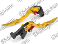 Gold CNC blade brake & clutch levers for Suzuki Hayabusa GSXR1300 1997 to 2007 (F-14/S-14). Our levers are designed as a direct replacement of the stock levers but more benefit over the stock ones