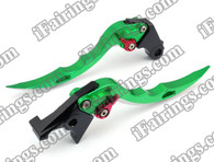 Green CNC blade brake & clutch levers for Suzuki Hayabusa GSXR1300 1997 to 2007 (F-14/S-14). Our levers are designed as a direct replacement of the stock levers but more benefit over the stock ones