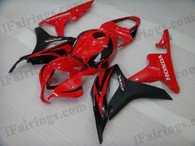 Honda CBR600RR 2007 2008 red and black fairing kits, this Honda CBR600RR 2007 2008 plastics was applied in red and blackgraphics, this 2007 2008 CBR600RR fairing set comes with the both color and decals shown as the photo.If you want to do custom fairings for CBR600RR 2007 2008,our talented airbrusher will custom it for you