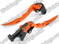 Orange CNC blade brake & clutch levers for Suzuki Hayabusa GSXR1300 2008 to 2012 (F-41/S-14). Our levers are designed as a direct replacement of the stock levers but more benefit over the stock ones