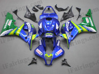 Honda CBR600RR 2007 2008 movistar fairing kits, this Honda CBR600RR 2007 2008 plastics was applied in movistargraphics, this 2007 2008 CBR600RR fairing set comes with the both color and decals shown as the photo.If you want to do custom fairings for CBR600RR 2007 2008,our talented airbrusher will custom it for you