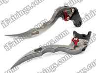 Grey CNC blade brake & clutch levers for Yamaha YZF R1 2004 2005 2006 2007 2008 (R-104/Y-688)). Our levers are designed as a direct replacement of the stock levers but more benefit over the stock ones
