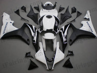 Honda CBR600RR 2007 2008 white and black fairing kits, this Honda CBR600RR 2007 2008 plastics was applied in white and blackgraphics, this 2007 2008 CBR600RR fairing set comes with the both color and decals shown as the photo.If you want to do custom fairings for CBR600RR 2007 2008,our talented airbrusher will custom it for you
