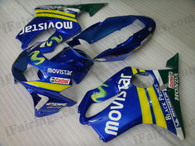Quality fairing kits for 1999 2000 Honda CBR600 F4 with Movistar scheme, this replacement fairings sets are oem comparable and fast shipping world-wide