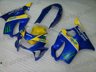 Quality fairing kits for 1999 2000 Honda CBR600 F4 with blue and yellow scheme, this replacement fairings sets are oem comparable and fast shipping world-wide.