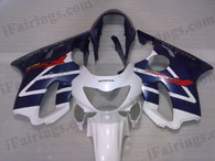 Quality fairing kits for 1999 2000 Honda CBR600 F4 with white and blue scheme, this replacement fairings sets are oem comparable and fast shipping world-wide.
