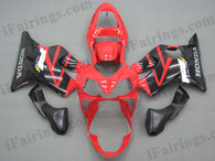 Quality aftermarket fairing kits for 2001 2002 2003 Honda CBR600 F4i in red and black color, this replacement bodyworks are injection molds made, OEM comparable quality and fast shipping.