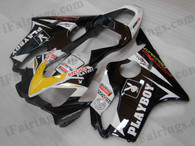Quality aftermarket fairing kits for 2001 2002 2003 Honda CBR600 F4i in PLAYBOY color, this replacement bodyworks are injection molds made, OEM comparable quality and fast shipping.