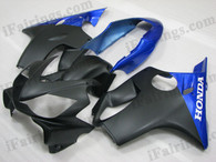 Quality aftermarket fairing kits for 2004 2005 2006 2007 Honda CBR600 F4i with black and blue color scheme/graphics. This fairing set is oem factory quality, fast shipping and easy installtion.