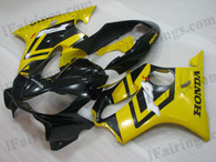 Quality aftermarket fairing kits for 2004 2005 2006 2007 Honda CBR600 F4i with black and yellow color scheme/graphics. This fairing set is oem factory quality, fast shipping and easy installtion.