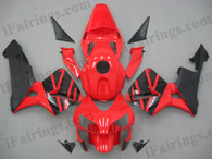 Honda CBR600RR 2003 2004 red and black fairing kits, this Honda CBR600RR 2003 2004 plastics was applied in red and black graphics, this 2003 2004 CBR600RR fairing set comes with the both color and decals shown as the photo.If you want to do custom fairings for CBR600RR 2003 2004,our talented airbrusher will custom it for you