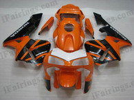 Quality aftermarket fairing kits for 2003 2004 Honda CBR600RR with orange and black color scheme/graphics. These body kits are 2003 2004 Honda CBR600RR replacement bodywork, they are oem quality, fast shipping and easy installation.