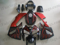 Honda CBR600RR 2005 2006 black/red flame fairing kits, this Honda CBR600RR 2005 2006 plastics was applied in black/red flamegraphics, this 2005 2006 CBR600RR fairing set comes with the both color and decals shown as the photo.If you want to do custom fairings for CBR600RR 2005 2006,our talented airbrusher will custom it for you.
