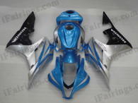 Oringal quality fairings for 2007 2008 Honda CBR600RR with blue,silver and black color scheme/graphcis. These aftermarket fairing kits are oem factory quality, fast shipping and easy installation. The replacement fairings for 2007 2008 CBR600RR can be customized.