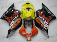 OEM quality fairings and body kits for 2009 2010 2011 2012 Honda CBR600RR with Rossi Repsol MotoGP scheme/graphcis, this aftermarket fairing kit is oem quality, fast shipping and easy installation. This model fairing 2009 2010 2011 2012 CBR600RR can be customized.