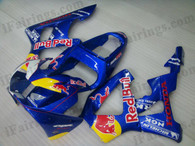 OEM quality fairings and body kits for 2000 2001 Honda CBR929RR with RedBull color scheme/graphics, these fairing kits are oem quality, fast shipping and easy installtion. More factory color-matched fairings for CBR929RR 2000 2001, team race replica fairings and custom fairing sets for Honda CBR929RR 2000 2001, please browse iFairings.com.