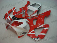 OEM quality fairings and body kits for 2000 2001 Honda CBR929RR with red and white color scheme/graphics, these fairing kits are oem quality, fast shipping and easy installtion. More factory color-matched fairings for CBR929RR 2000 2001, team race replica fairings and custom fairing sets for Honda CBR929RR 2000 2001, please browse iFairings.com.