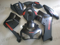 Honda CBR1000RR 2004 2005 matt/flat black fairing kits, this Honda CBR1000RR 2004 2005 plastics was applied in matt/flat blackgraphics, this 2004 2005 CBR1000RR fairing set comes with the both color and decals shown as the photo.If you want to do custom fairings for CBR1000RR 2004 2005,our talented airbrusher will custom it for you.