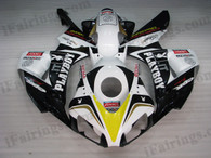 Honda CBR1000RR 2006 2007 PLAYBOY fairing kits, this Honda CBR1000RR 2006 2007 plastics was applied in PLAYBOYgraphics, this 2006 2007 CBR1000RR fairing set comes with the both color and decals shown as the photo.If you want to do custom fairings for CBR1000RR 2006 2007,our talented airbrusher will custom it for you.