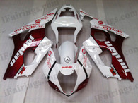 OEM quality fairings and body kits for 2003 2004 Suzuki GSXR1000 with red/white jordan color scheme/graphics, these fairing kits are oem quality, fast shipping and easy installtion. More factory color-matched fairings for GSXR1000 2003 2004, team race replica fairings and custom fairing sets for Suzuki GSXR1000 2003 2004, please browse iFairings.com.