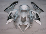 OEM quality fairings and body kits for 2005 2006 Suzuki GSXR1000 with white, silver and black color scheme/graphics, these fairing kits are oem quality, fast shipping and easy installtion. More factory color-matched fairings for GSXR1000 2005 2006, team race replica fairings and custom fairing sets for Suzuki GSXR1000 2005 2006, please browse iFairings.com.