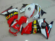 Honda CBR600 F3 1995 1996 red/white fairing kits, 1995 1996 Honda CBR600 F3 red/white plastic.This Honda CBR600 F3 1995 1996 fairing kits was applied in red/white graphics, this 1995 1996 CBR600 fairing set comes with the both color and decals shown as the photo.If you want to do custom fairings for CBR600 F3 1995 1996,our talented airbrusher will custom it for you