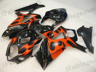 OEM quality fairings and body kits for 2007 2008 Suzuki GSXR1000 with black and orange color scheme/graphics, these fairing kits are oem quality, fast shipping and easy installtion. More factory color-matched fairings for GSXR1000 2007 2008, team race replica fairings and custom fairing sets for Suzuki GSXR1000 2007 2008, please browse iFairings.com.