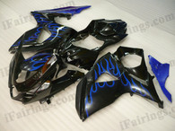 OEM quality fairings and body kits for 2009 2010 2011 2012 Suzuki GSXR1000 with black and blue flame color scheme/graphics, these fairing kits are oem quality, fast shipping and easy installtion. More factory color-matched fairings for GSXR1000 2009 2010 2011 2012, team race replica fairings and custom fairing sets for Suzuki GSXR1000 2009 2010 2011 2012, please browse iFairings.com