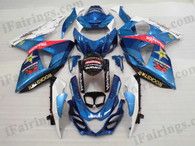 OEM quality fairings and body kits for 2009 2010 2011 2012 Suzuki GSXR1000 with white and blue color scheme/graphics, these fairing kits are oem quality, fast shipping and easy installtion. More factory color-matched fairings for GSXR1000 2009 2010 2011 2012, team race replica fairings and custom fairing sets for Suzuki GSXR1000 2009 2010 2011 2012, please browse iFairings.com.