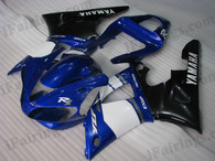 OEM quality fairings and body kits for 2000 2001 Yamaha YZF-R1 with blue, white and black color scheme/graphics, these fairing kits are oem quality, fast shipping and easy installtion. More factory color-matched fairings for YZF-R1 2000 2001, team race replica fairings and custom fairing sets for Yamaha YZF-R1 2000 2001, please browse iFairings.com.