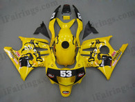 Honda CBR600 F3 1995 1996 yellow fairing kits, 1995 1996 Honda CBR600 F3 yellow plastic.This Honda CBR600 F3 1995 1996 fairing kits was applied in yellow graphics, this 1995 1996 CBR600 fairing set comes with the both color and decals shown as the photo.If you want to do custom fairings for CBR600 F3 1995 1996,our talented airbrusher will custom it for you.