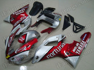 OEM quality fairings and body kits for 2000 2001 Yamaha YZF-R1 with red and silver Fortuna color scheme/graphics, these fairing kits are oem quality, fast shipping and easy installtion. More factory color-matched fairings for YZF-R1 2000 2001, team race replica fairings and custom fairing sets for Yamaha YZF-R1 2000 2001, please browse iFairings.com.