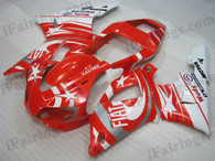 OEM quality fairings and body kits for 1998 1999 Yamaha YZF-R1 with red Fiat Star color scheme/graphics, these fairing kits are oem quality, fast shipping and easy installtion. More factory color-matched fairings for YZF-R1 1998 1999, team race replica fairings and custom fairing sets for Yamaha YZF-R1 1998 1999, please browse iFairings.com.