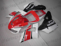 OEM quality fairings and body kits for 1998 1999 Yamaha YZF-R1 with red 50th anniversary scheme color scheme/graphics, these fairing kits are oem quality, fast shipping and easy installtion. More factory color-matched fairings for YZF-R1 1998 1999, team race replica fairings and custom fairing sets for Yamaha YZF-R1 1998 1999, please browse iFairings.com.