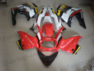 Honda CBR600 F3 1997 1998 red/white fairing kits, 1997 1998 Honda CBR600 F3 red/white plastic.This Honda CBR600 F3 1997 1998 fairing kits was applied in red/white graphics, this 1997 1998 CBR600 fairing set comes with the both color and decals shown as the photo.If you want to do custom fairings for CBR600 F3 1997 1998,our talented airbrusher will custom it for you.
