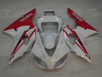 OEM quality fairings and body kits for 1998 1999 Yamaha YZF-R1 with white and red color scheme/graphics, these fairing kits are oem quality, fast shipping and easy installtion. More factory color-matched fairings for YZF-R1 1998 1999, team race replica fairings and custom fairing sets for Yamaha YZF-R1 1998 1999, please browse iFairings.com.