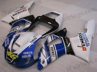 OEM quality fairings and body kits for 1998 1999 Yamaha YZF-R1 with rossi replica white/blue color scheme/graphics, these fairing kits are oem quality, fast shipping and easy installtion. More factory color-matched fairings for YZF-R1 1998 1999, team race replica fairings and custom fairing sets for Yamaha YZF-R1 1998 1999, please browse iFairings.com.