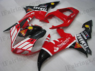 OEM quality fairings and body kits for 2002 2003 Yamaha YZF-R1 with Santander color scheme/graphics, these fairing kits are oem quality, fast shipping and easy installtion. More factory color-matched fairings for YZF-R1 2002 2003, team race replica fairings and custom fairing sets for Yamaha YZF-R1 2002 2003, please browse iFairings.com.