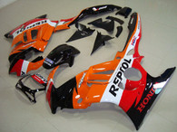 Honda CBR600 F3 1997 1998 repsol fairing kits, 1997 1998 Honda CBR600 F3 repsol plastic.This Honda CBR600 F3 1997 1998 fairing kits was applied in repsol graphics, this 1997 1998 CBR600 fairing set comes with the both color and decals shown as the photo.If you want to do custom fairings for CBR600 F3 1997 1998,our talented airbrusher will custom it for you